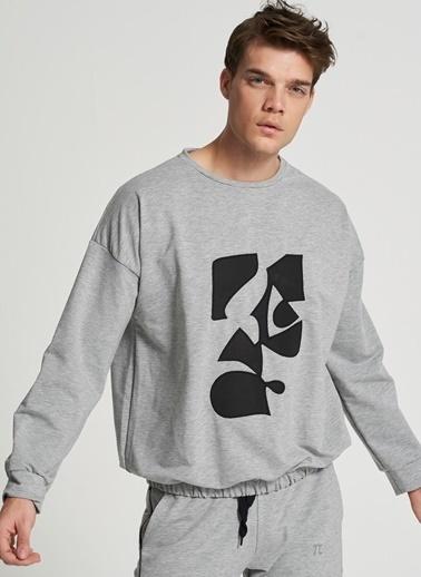 Pi π Beli Lastik Detaylı Sweatshirt Gri